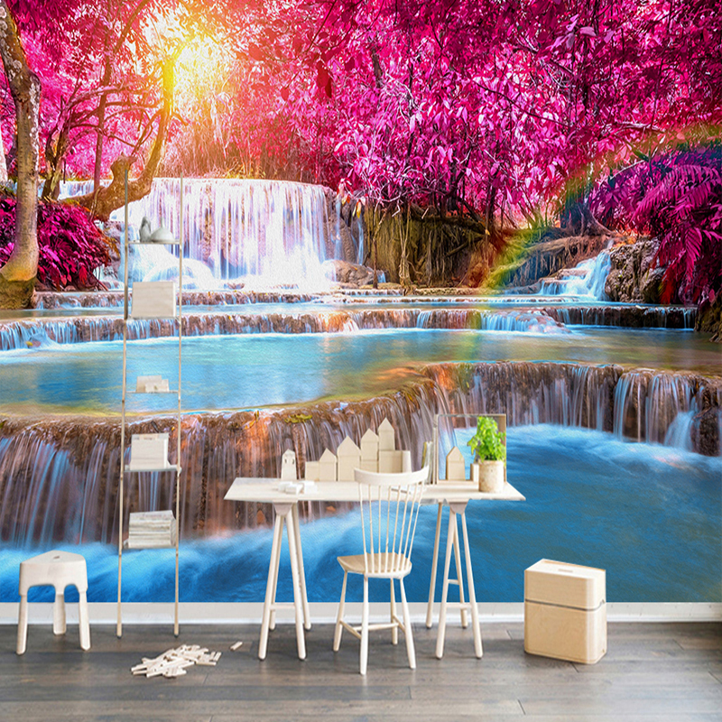 3D Wallpaper Beautiful Forest Waterfall Nature Landscape Photo Wall Murals Living Room Bedroom Backdrop Home Decor Papel Mural nature tree 3d landscape mural photo wallpaper for walls 3 d living room bedroom home wall decor papel de parede 3d wallpaper