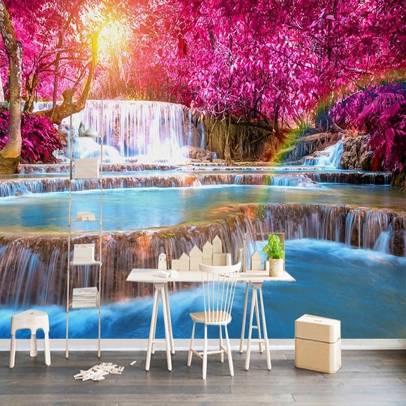 3D Wallpaper Beautiful Forest Waterfall Nature Landscape ...