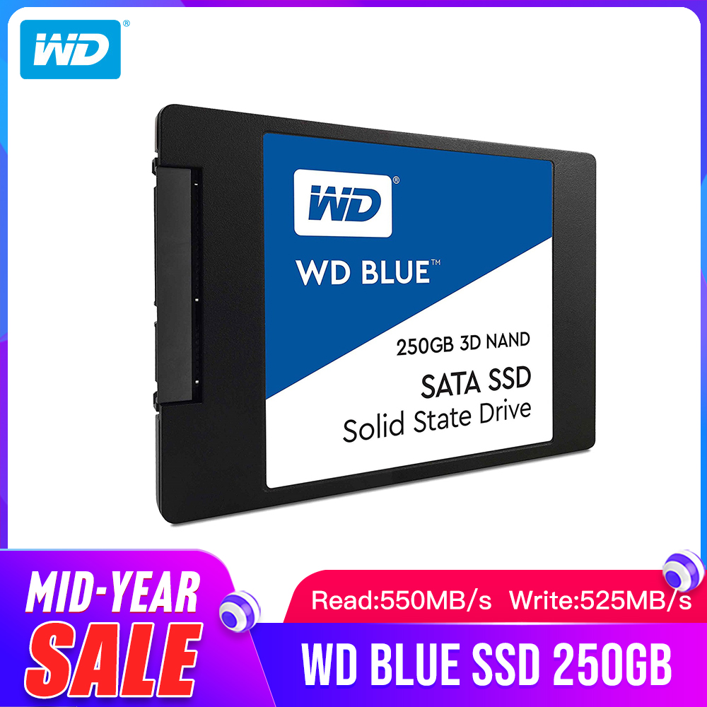 Western Digital Blue <font><b>SSD</b></font> interne Solid State Disque 250GB 500GB <font><b>1TB</b></font> 2TB - SATA 6 Gbit/s <font><b>2.5</b></font>