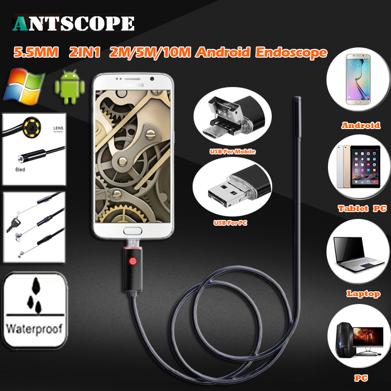 Endoscope Camera 5.5mm 2IN1 2M/5M/10M USB PC Android OTG Endoscope Waterproof IP67 Tube Inspection Borescope Snake Camera 53 owlcat 5 5mm lens usb snake endoscope camera ip67 waterproof underwater tube inspection borescope mini cam 2m 5m android