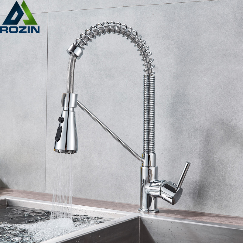 360 Degree Rotate Kitchen Sink Faucet Chrome Spring Pull Down Hot Cold Water Tap for Kitchen