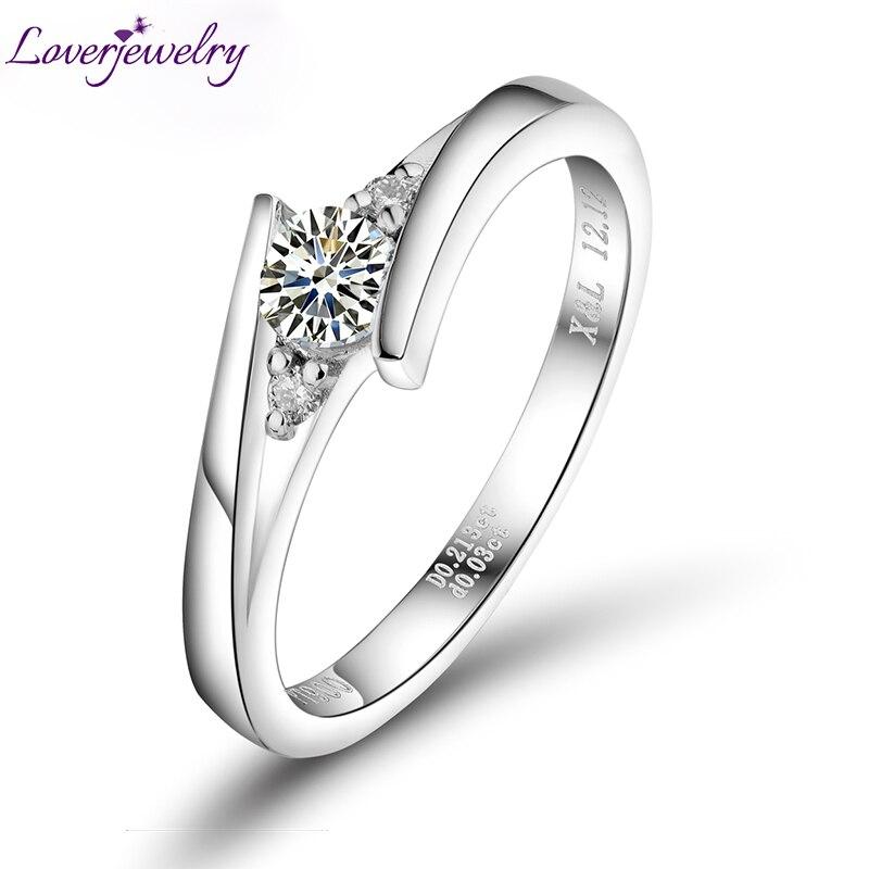 Fabuleuse bague en diamant 0.23 carats, ronde naturelle Dia PT900 mariage promis beaux bijoux WU141