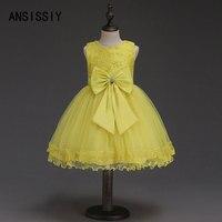 צהוב פרח בנות בנות Bow עניבת חתונת תחרות ילד בגדי ילדי שמלות ערב נסיכת הקיץ ללא שרוולים 4 עד 11 שנים