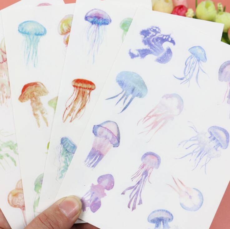 4 pcs/pack Jellyfish Dull Polish Decorative Stickers Mobile Phone Stickers Stationery DIY Album Stickers vapjoy jellyfish wicking cotton pack