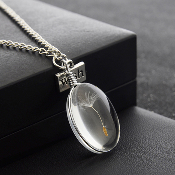 Natural Dandelion Seed Specimen Glass Pendant Necklace