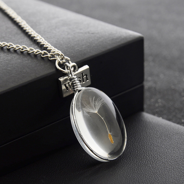 Natural Dandelion Seed Specimen Glass Adhesive Sheet and Wish Tag Pendant Necklace Charm Women Oval Time Gem Necklace