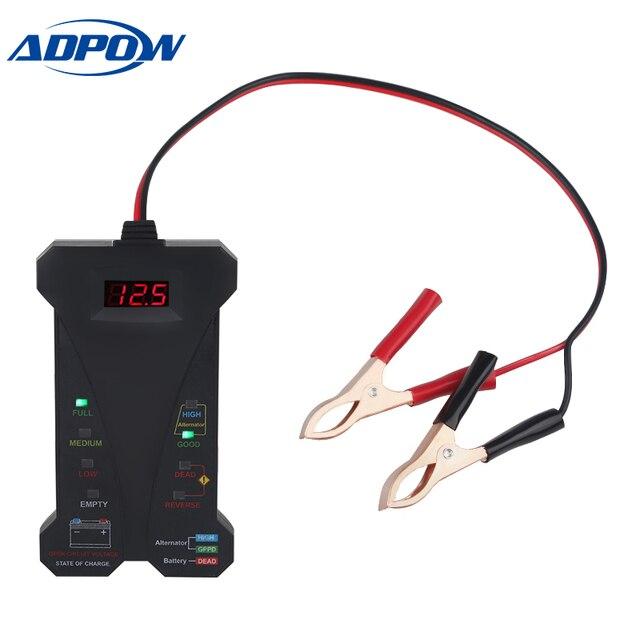12V araba pil test cihazı dijital voltmetre ve şarj sistemi analizörü alternatör test cihazı motosiklet otomotiv tanılama aracı
