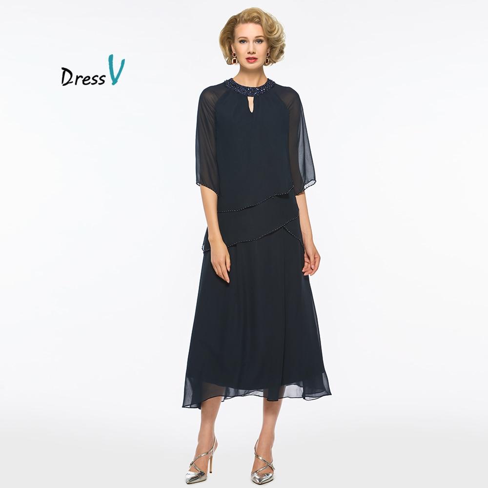 Dressv Dark Navy Blue Mother Of The Bride Dress Half