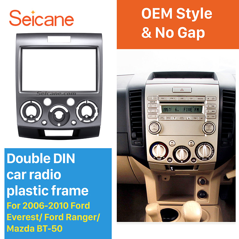все цены на Seicane 2 Din Car Radio Fascia Frame Audio Panel kit for 2006-2010 Ford Everest Ranger/Mazda BT-50 Silver онлайн