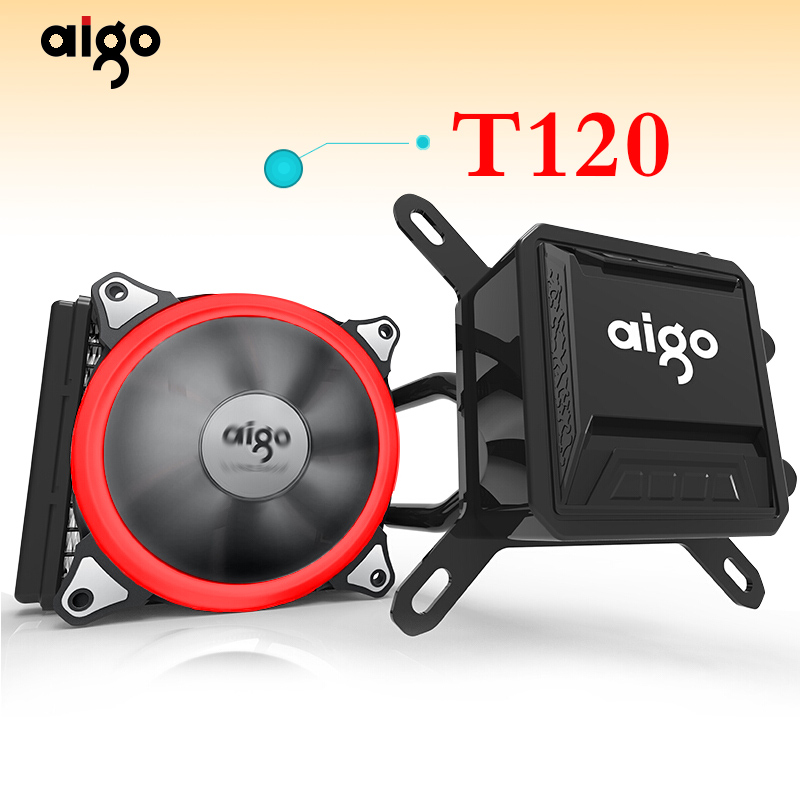 Aigo Liquid CPU Cooler All In One Water Cooling 120mm PWM Fan LED Light desktop computer