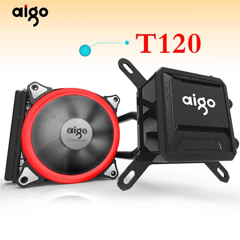 Aigo Liquid CPU Cooler All-In-One Pendingin Air 120 Mm Kipas PWM LED Light Desktop Komputer radiator LGA 775/115X/AM2/AM3/AM4