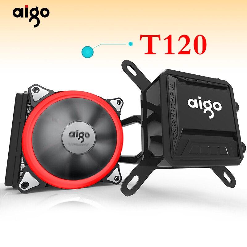 Aigo refroidisseur de processeur liquide tout-en-un refroidissement par eau 120mm PWM ventilateur lumière LED ordinateur de bureau boîtier radiateur LGA 775/115x/AM2/AM3/AM4