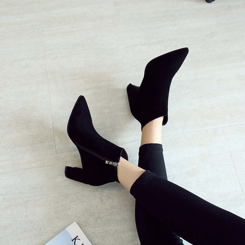 RYVBA Women suede Genuine leather pointed toe Ankle boots womens Autumn winter boots 2018 Woman fashion square high heels shoes 10