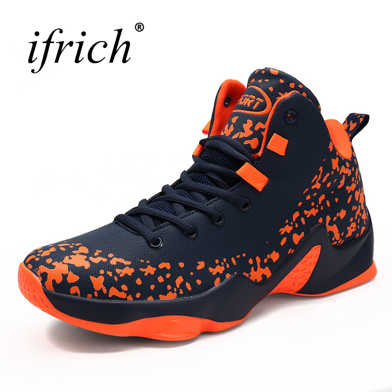 2019 Hot Sale Big Size Basketball Shoes Male Size 39-46 High Men Lace Up Stability Basketball Sneakers Men Red/Orange Trainers цена 2017