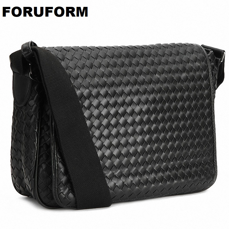 Fashion Korea Style Hot Men Messenger Bags Original Design Leather Water-proof Bag Men's Cross Weave Travel School Bags LI-1034