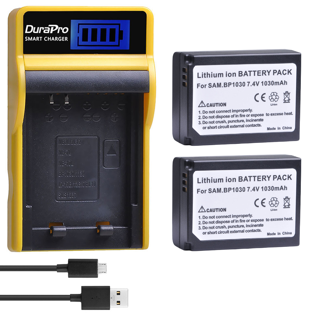 2pc 1030mAH BP-1030 BP 1030 Rechargeable Battery + LCD <font><b>Charger</b></font> For <font><b>Samsung</b></font> NX200 NX210 NX300 NX500 <font><b>NX1000</b></font> NX1100 NX-300M Camera image