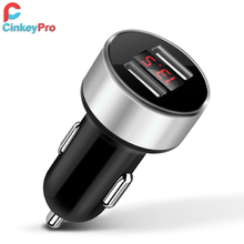 CinkeyPro Car Charger LED Screen 2-Ports USB Charger 2.1A Car-Charger Mobile Phone Universal For iPhone Samsung Charging