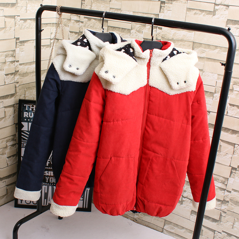 Winter Jacket Women Cotton Short Jacket Lovely Ears Girls Padded Hooded Warm Parkas Stand Collar Coat Female Autumn Outerwear lovely autumn winter lover cotton padded women