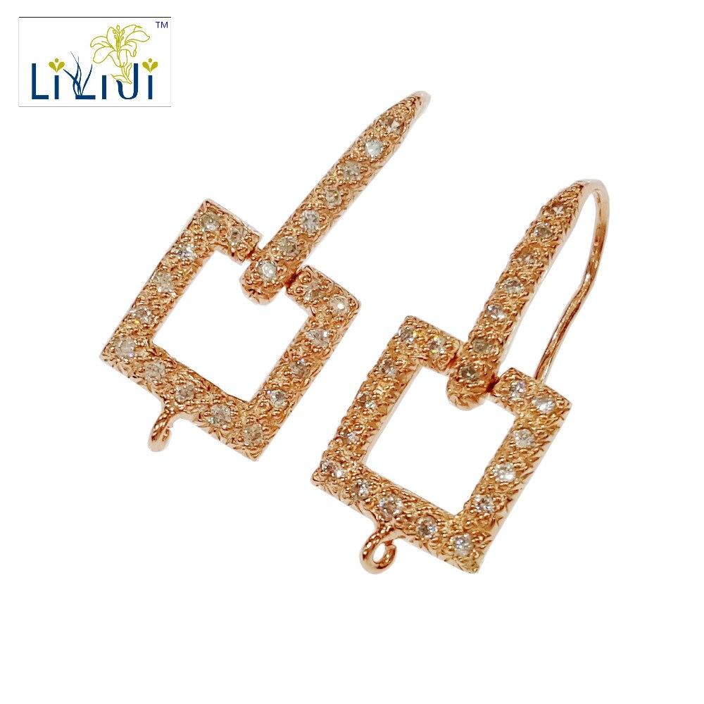 LiiJi Unique 925 en argent Sterling Rose forme carrée réglage Zircon boucle d'oreille crochet résultats de bijoux accessoires composants de la pièce