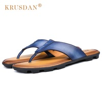 2017 Men S Casual Leather Sandals Summer Leather Anti Skid Men Flip Flops Fashionable Outdoor Cool