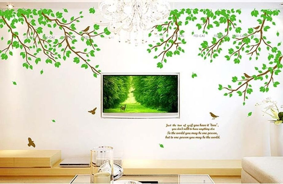 Beautiful 90*60CM Removable Large Tree Bird Leaves Wall Decals Quotes For Home Living  Room Decor Good Ideas