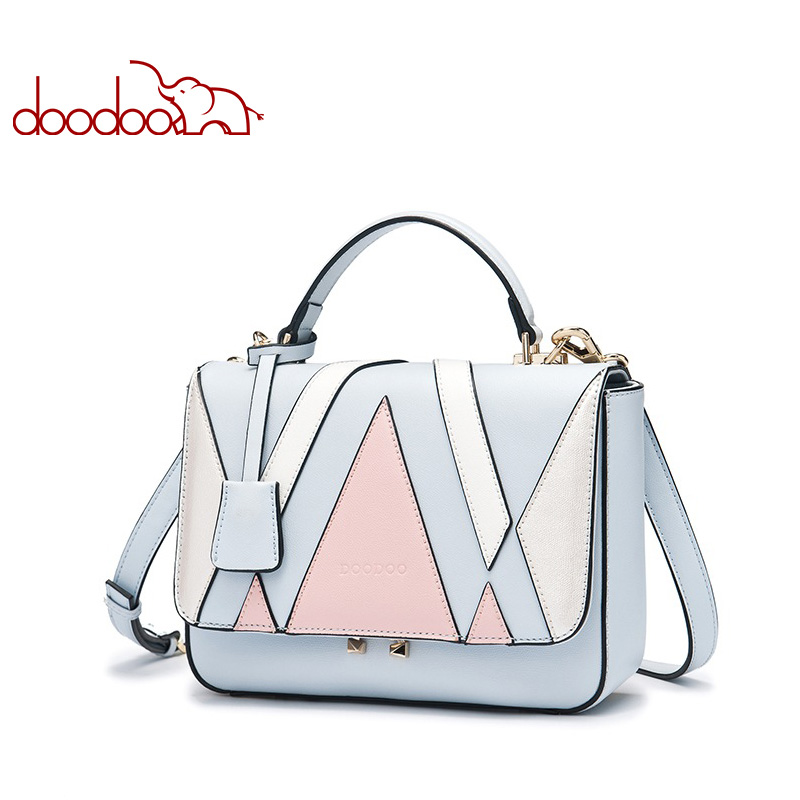 DOODOO Brand Fashion Women Bag Female Shoulder Crossbody Bags Ladies Artificial Leather Geometric Pattern 2 Color Messenger Bags brand fashion women bag female chain shoulder crossbody bags ladies split leather geometric pattern hit color messenger bags sac