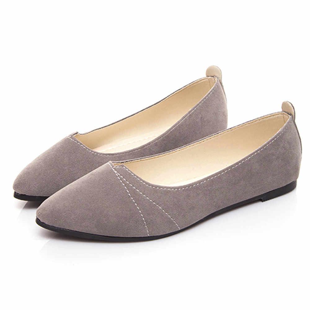 รองเท้าสตรีรองเท้าฤดูใบไม้ผลิรองเท้าหนังสีดำนุ่มรองเท้าผู้หญิงขนาดใหญ่ขนาด Ballet Flats ชี้ Toe ปากตื้น SLIP-ON สุภาพสตรี loafer #10