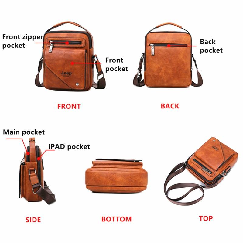 JEEP BULUO Men's Messenger Bag Famous Brand Men Shoulder Bags Leather Crossbody Tote For iPad Men Fashion Business New Handbag