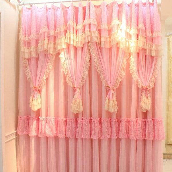 Pink White Lace Ruffled Curtains Cortinas Para Sala Window Valance ...