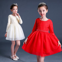 2017 New Autumn Sweet Pearl Girls Party Dresses Long Sleeve Kids Cotton Dress Princess Girls Clothes