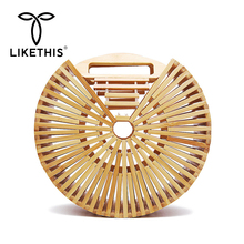 LIKETHIS Fashion Women Handbag High Quality Famous Brand Design Bamboo New Summer Rattan Bag Handmade Woven Beach Semicircular