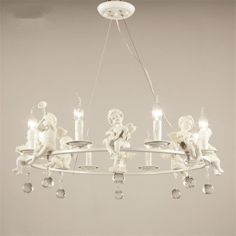 цена на Resin Crystal White Music Angel Lamp Warm Sweet Pendant Light Lamp Simple Creative Home Design for Living Room LED Restaurant