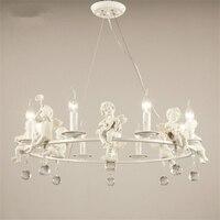 Resin Crystal White Music Angel Lamp Warm Sweet Pendant Light Lamp Simple Creative Home Design for Living Room LED Restaurant