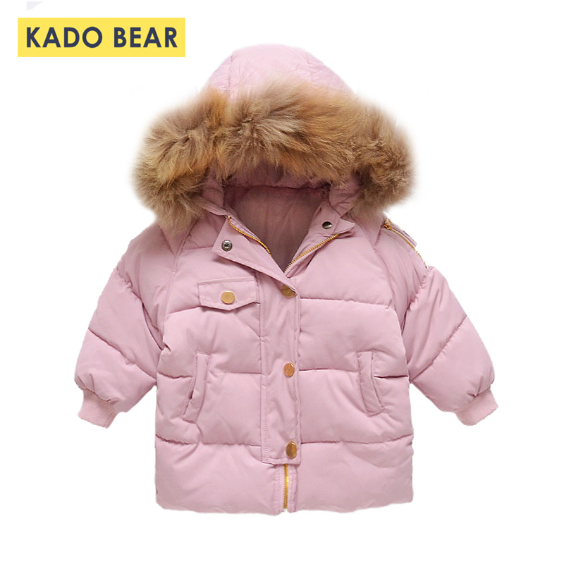 Girls Winter Jackets Hooded Fur Collar Thick Coats 2018 Fashion Kids Clothes Long Sleeve Outerwear Children Cute Coat Snowsuit buenos ninos thick winter children jackets girls boys coats hooded raccoon fur collar kids outerwear duck down padded snowsuit