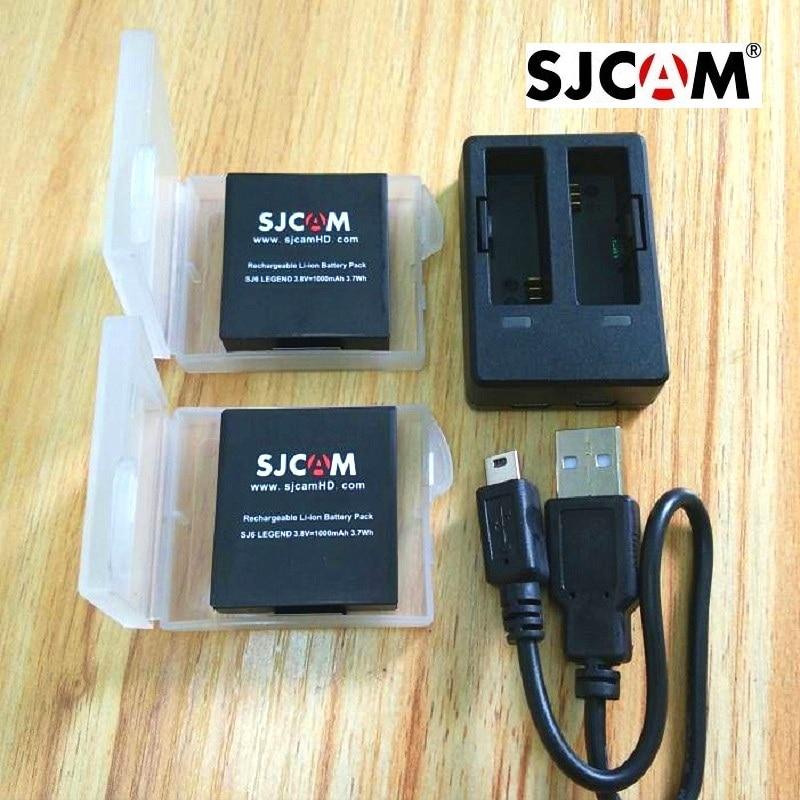 SJCAM Accessories Original SJ6 Batteries Rechargable Battery Dual Charger Battery Case For SJCAM SJ6 Legend Action Sports Camera