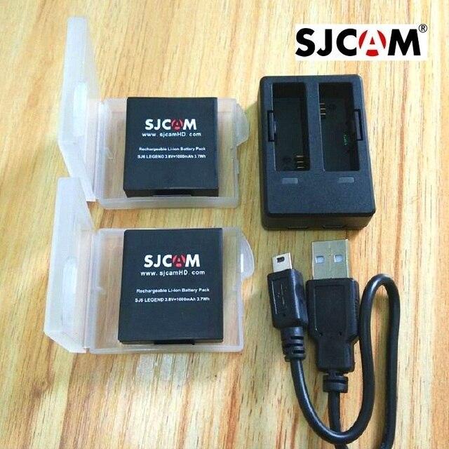 SJCAM aksesuarları orijinal SJ6 piller şarj edilebilir pil çifte şarj makinesi pil kutusu SJCAM SJ6 Legend eylem spor kamera