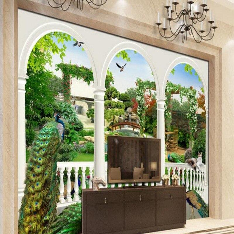 background palace garden fantasy custom 3d peacock backdrop murals papel bird scale tv beibehang parede