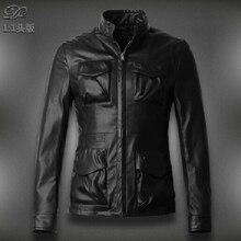 Free shipping !!! Men's spring new Korean brand fashion Slim leather clothing multi-pocket  leather  jacket / M-3XL
