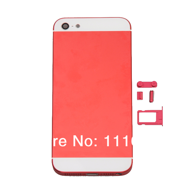 Free Shipping! Red Complete Housing Back Battery Door Cover & Mid Frame with Button Assembly for iPhone 5