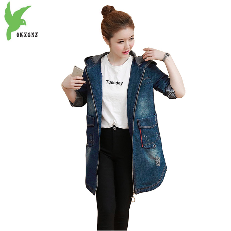 Spring Autumn Women Denim   Trench   New Fashion Hooded Female Casual Tops Plus Size Solid Color Outerwear Windbreaker OKXGNZ A728