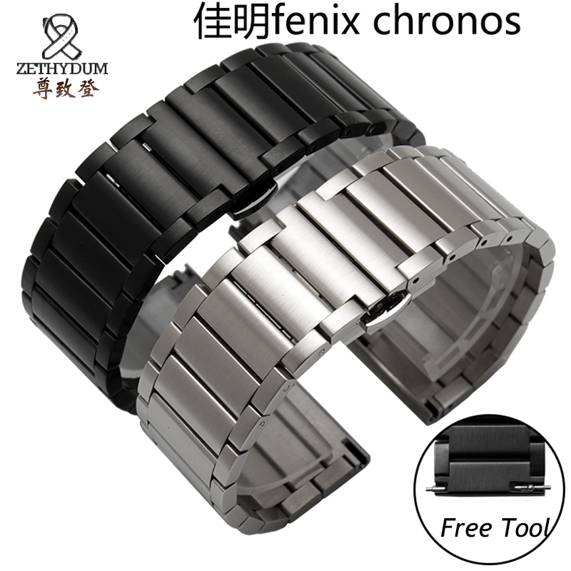 Quality stainless steel watchband 22mm black silver luxury metal band for Garmin Fenix chronos garmin fenix chronos steel