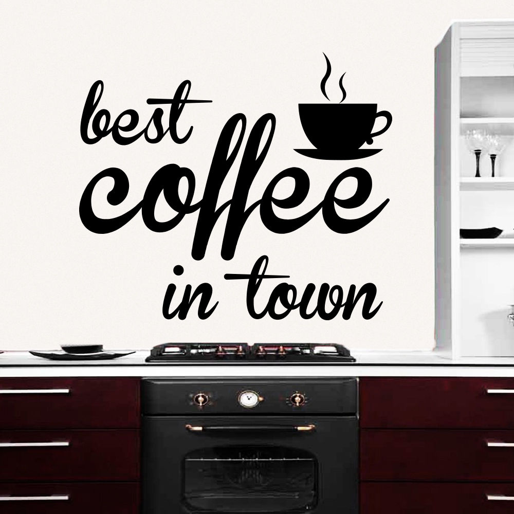 Wall Decals Quote Best Coffee In Town Decal Kitchen Cafe Decor ...