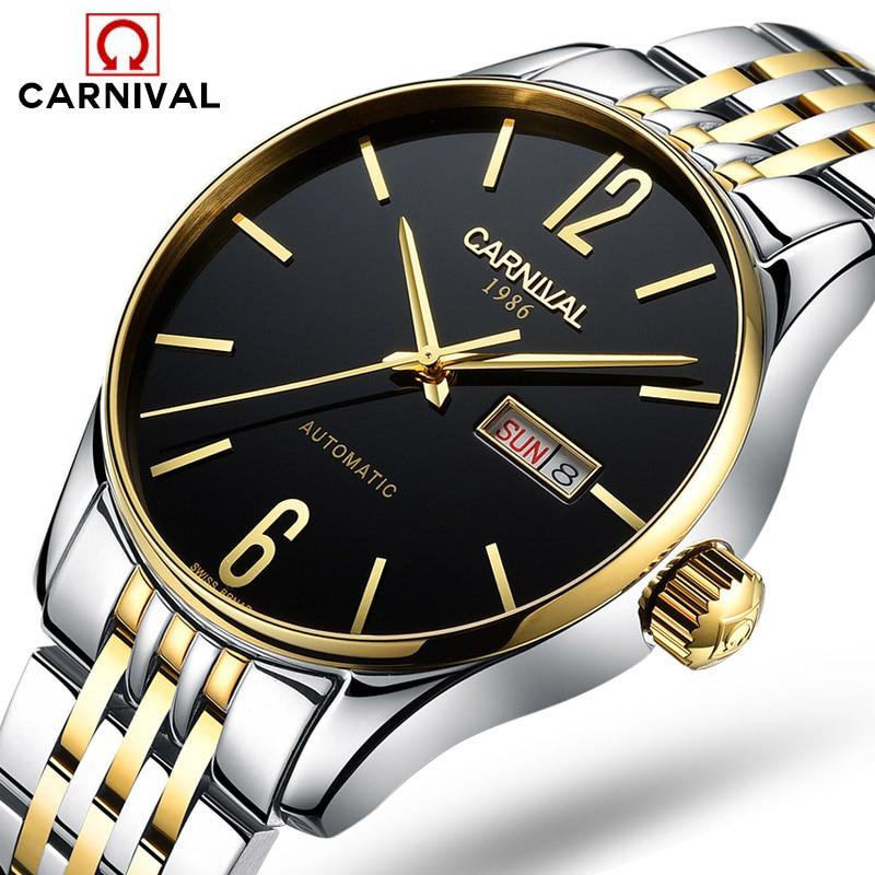 Carnival Watch Men Automatic Mechanical Luminous Gold Stainless Steel Waterproof Week Date Black Watches