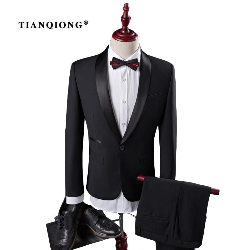 TIAN QIONG Cheap New Coat Pant Designs High Quality Cotton Black Casual Suits Men,wedding Adress Casual Suit Men,Plus-Size S-4XL men s fashion casual cotton pants brown size 33