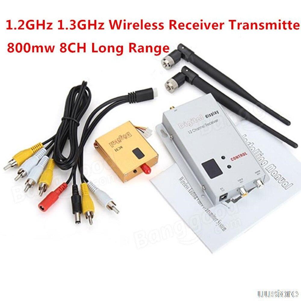 FPV 1.2G 1.2 GHz 800 MW AV inalámbrico digital video/audio diagrama transmisor y receptor Combo para RC zmr250 qav280 qav250 drone