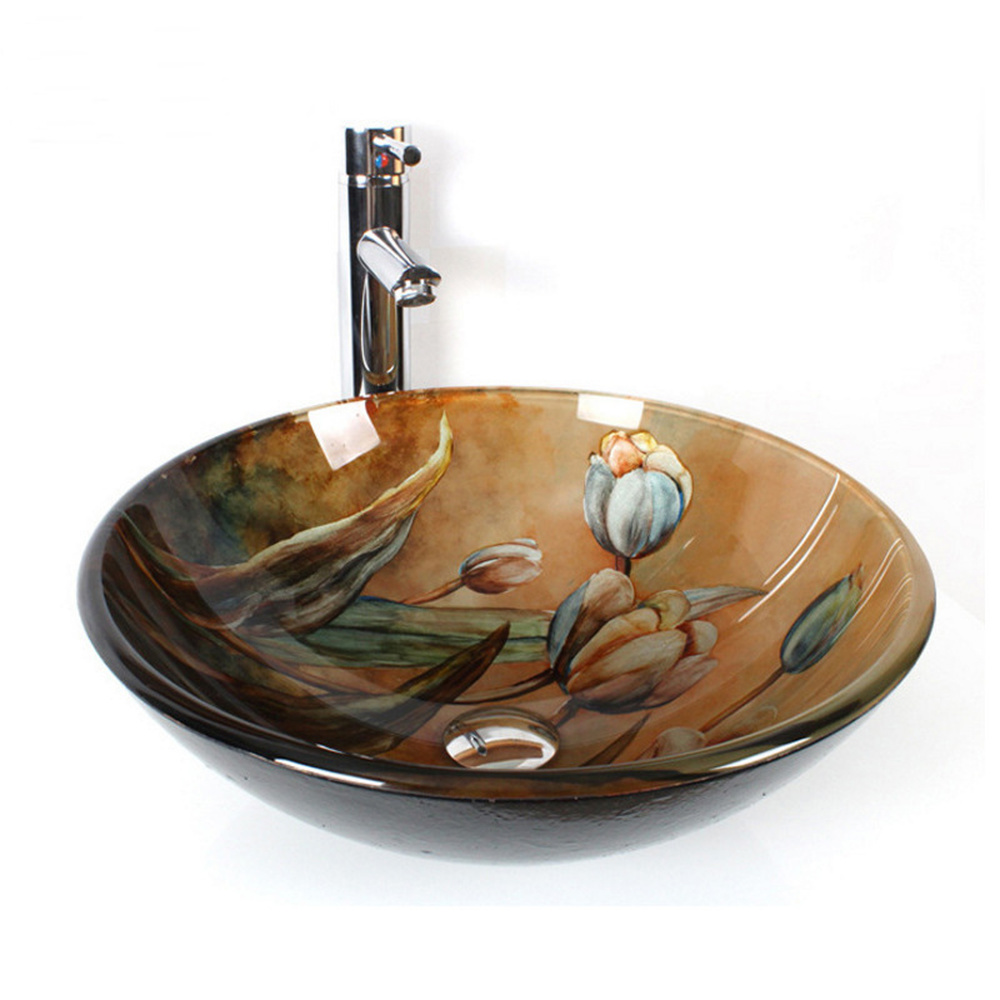 Bathroom Republic of China wind art basin above counter basin Master hand painted red plum wash basin basin LO712252
