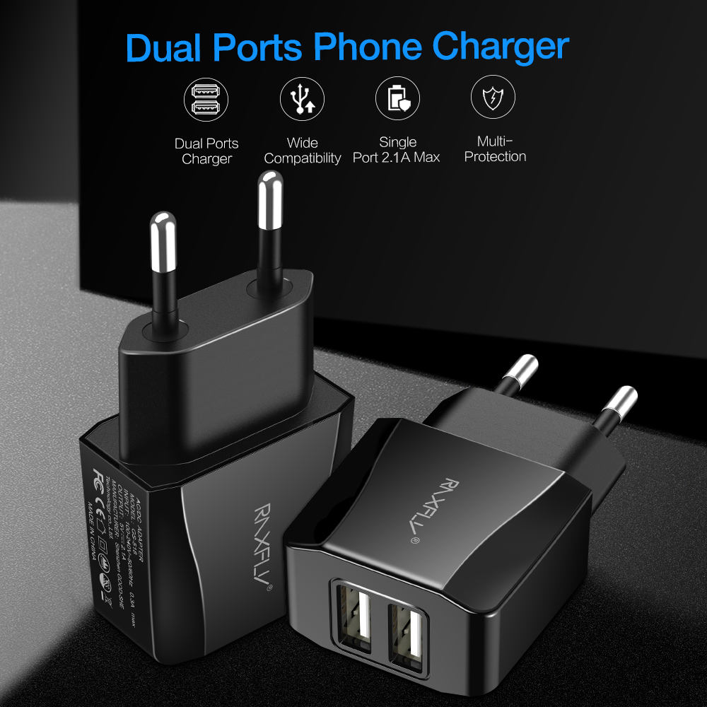 Mobile Phone Charger For Samsung Huawei Xiaomi Redmi Two Ports EU Plug Cell Phone Charger USB Portable Travel Adapter For Phone