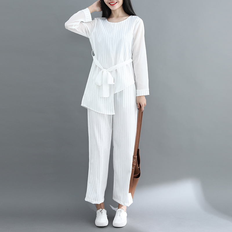 Striped Two Piece Sets Women Long Sleeve Blouses With Belt And Wide Leg Pants Suits Spring Autumn Casual Elegant Ol Style Sets 32