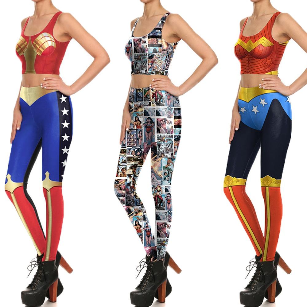 Cosplay Wonder Woman Sports Running Vest Crop Top Skinny -9363