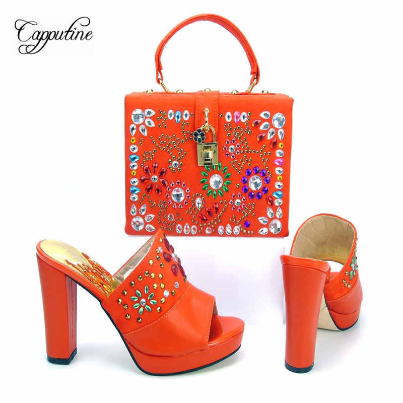 Capputine New Arrival Italian Rhinestone High Heels Shoes And Bag Set Fashionable Summer Woman Shoes And HandBag Set For Party doershow african shoes and bags fashion italian matching shoes and bag set nigerian high heels for wedding dress puw1 19